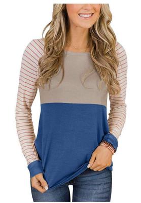 Striped Sleeve Long Sleeves Tops