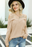 Kahki Knit Cord Shoulder Sweater