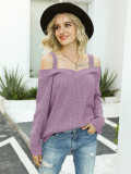 Purple Knit Cord Shoulder Sweater
