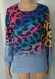 Leopard Ombre Loose Sweatshirt Pullover
