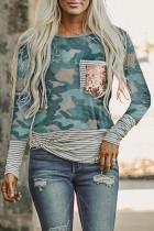 Camo Stripe Pocket Sequins Splicing Long Sleeve O-neck Top