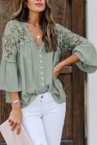 Green Crochet Lace Button Top