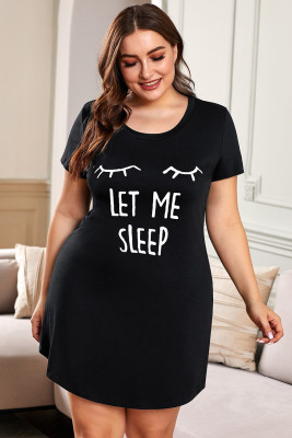 Plus Size LET ME SLEEP Graphic Print Black Nightwear Mini Dress