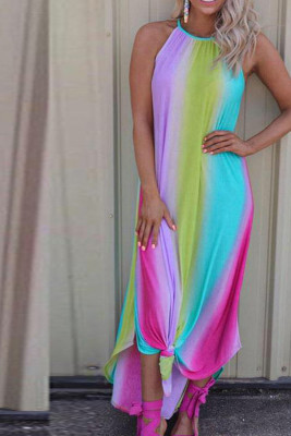 Multicolor Tie Dye Halter Neck Sleeveless Maxi Dress