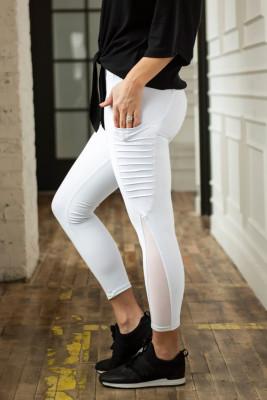 White Moto Pocketed Leggings