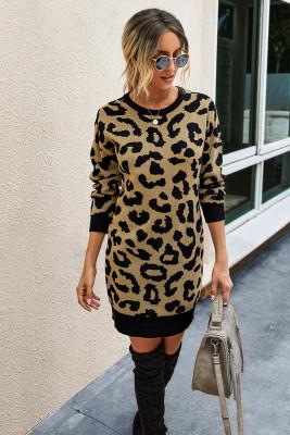 Kahki Leopard Bodycon Sweater Dress