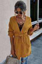 Yellow Solid Cardigan with Belt