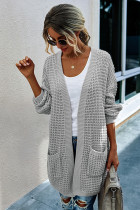 Grey Long Cardigan With Pockets