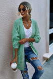 Green Long Cardigan With Pockets