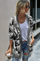 Grey Camouflage Long Cardigan With Pockets