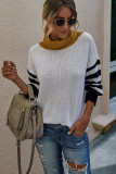 White Stripe Pullover Sweater