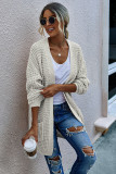 White Long Cardigan With Pockets