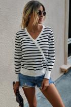 White Striped Pullover Sweater