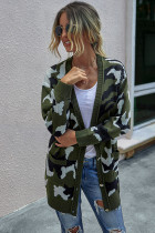 Army Green Camouflage Long Cardigan With Pockets