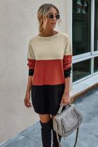 Black Color Block Long Bodycon Sweater