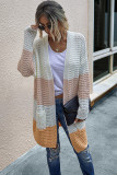Orange Color Block Cardigan With Pockets