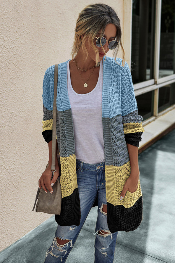 Yellow Color Block Cardigan With Pockets