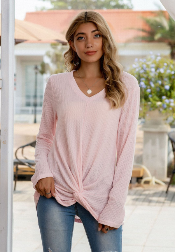 Solid Waffle Knit Twisted Top