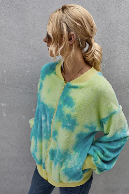 Green Tie Dye Sweater Fluffy Coat with Pocket
