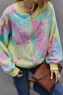 Yellow Tie Dye Sweater Fluffy Coat with Pocket