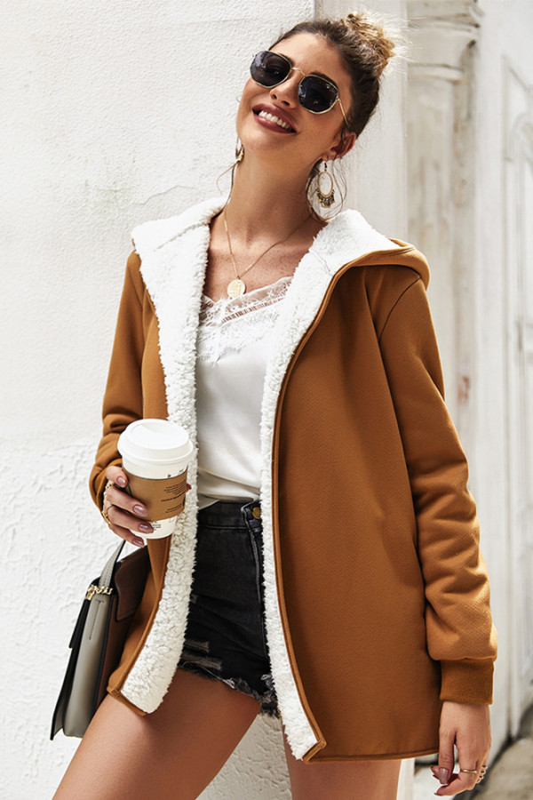Brown Solid Sweater Hooded Coat with Pocket
