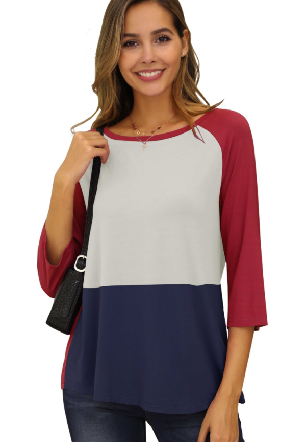 Nine Quarter Sleeve Colorblock Top