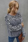 Grey Leopard Contrast Fleece Sweatshirt