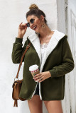 Army Green Solid Sweater Hooded Coat with Pocket