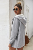 Grey Solid Sweater Hooded Coat with Pocket