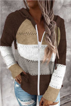 Brown Zipped Front Colorblock Hollow-out Knit Hoodie