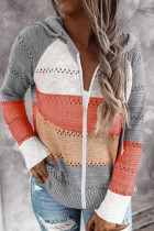 Orange Zipped Front Colorblock Hollow-out Knit Hoodie