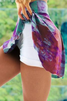 Purple Double-decker Tie-dye High Waist Sports Skirt Shorts