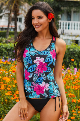 Black Printed Racerback Tank Swim Top