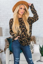 Leopard Pullover Loose V Neck Tops