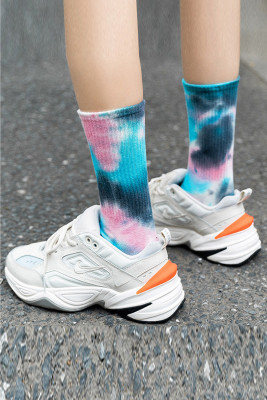 Blue Tie-dye Mid-length Stockings