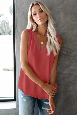 Red Sleeveless Eyelash Lace V Neck Tank Top