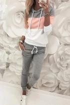 Pink Drawstring Design Colorblock Hooded Top & Pant Set