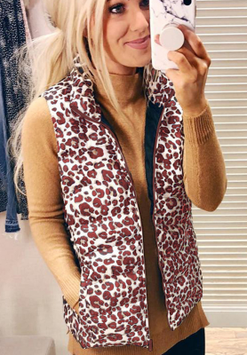 Wine Red Turn-down Collar Leopard Jacket