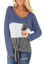 Colorblock Waffle Knit Tops with Pocket