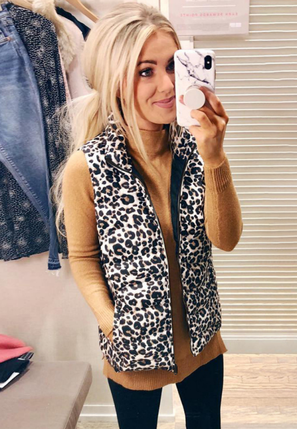 Turn-down Collar Leopard Jacket