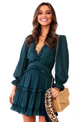 Green V Neck Ruffle Detailing Open Back Dress