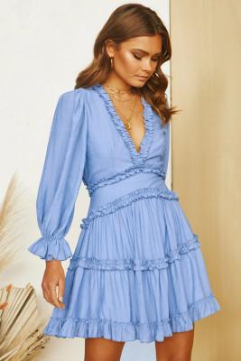 Sky Blue V Neck Ruffle Detailing Open Back Dress
