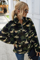 Army Green Plaid Turn-down Collar Coral Fluffy Coat
