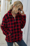 Red Plaid Turn-down Collar Coral Fleece Coat