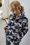 Grey Plaid Turn-down Collar Coral Fleece Coat