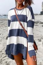 Blue Round Neck Side Slit Casual Oversized Sweatshirt