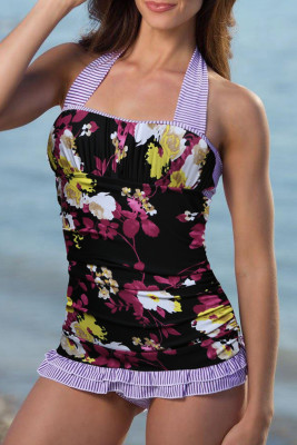 Purple Open Back Ruched Halter Top Shorts Tankini Set