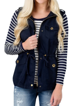 Solid Sleeveless Jacket with Buttons
