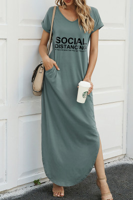 Green Letter Print Dress with Slit