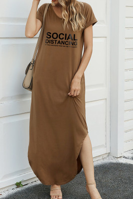 Brown Letter Print Dress with Slit